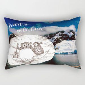 Travel with Polar Bear_rectanugular pillow