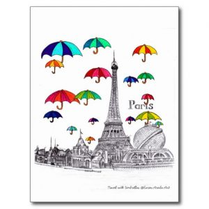 Travel with umbrella_postcard