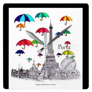 Travel with umbrellas_wallclock_square