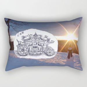 christmas sledge rectangular pillow