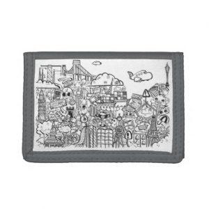 doodles_tri-fold wallet